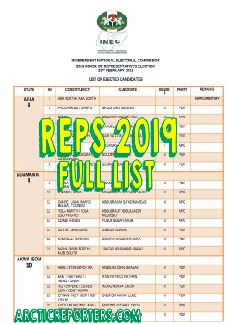 HOUSE OF REPS NIGERIA 2019 MEMBERS