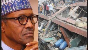 buhari mourns lagos building collapse