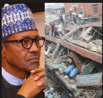 buhari mourns lagos building collapse