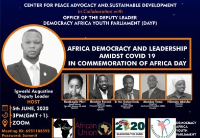 Igweshi Augustine to host African Democracy and Leadership Amidst Covid19 (In Commemoration of Africa Day)